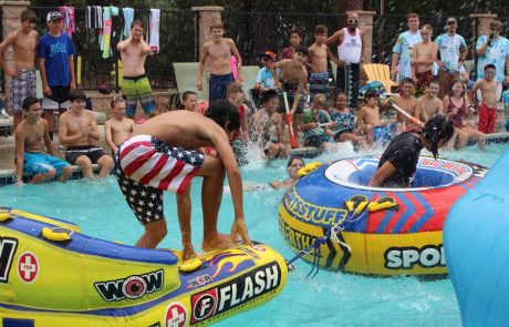 water sports in the pool at summer camp