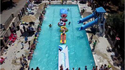outdoor pool water slide