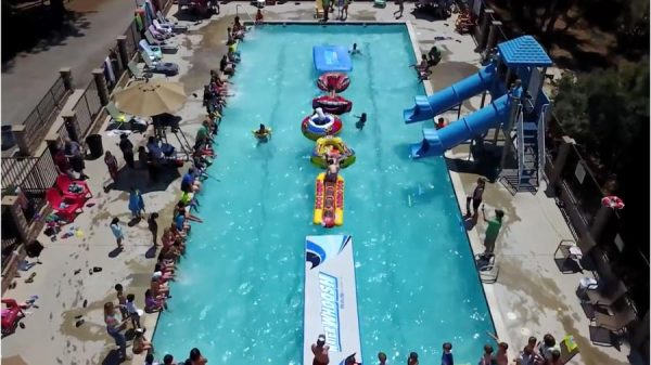 outdoor pool water slide