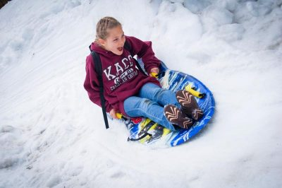 sledding at angeles crest winter camp