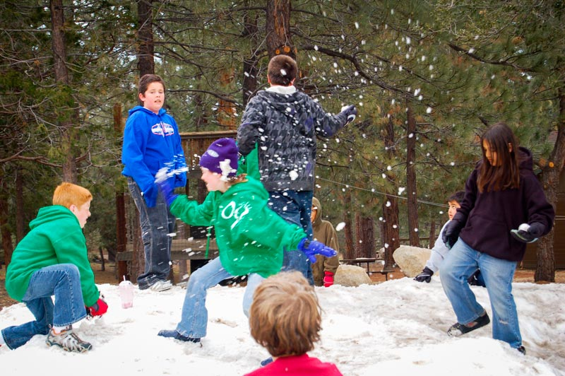snowball fight at angeles crest winter camp