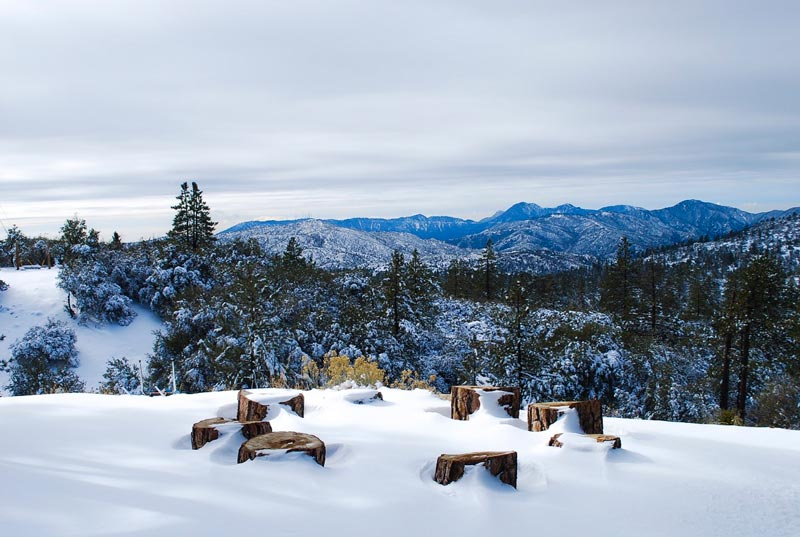 snowy views at angeles crest winter camp
