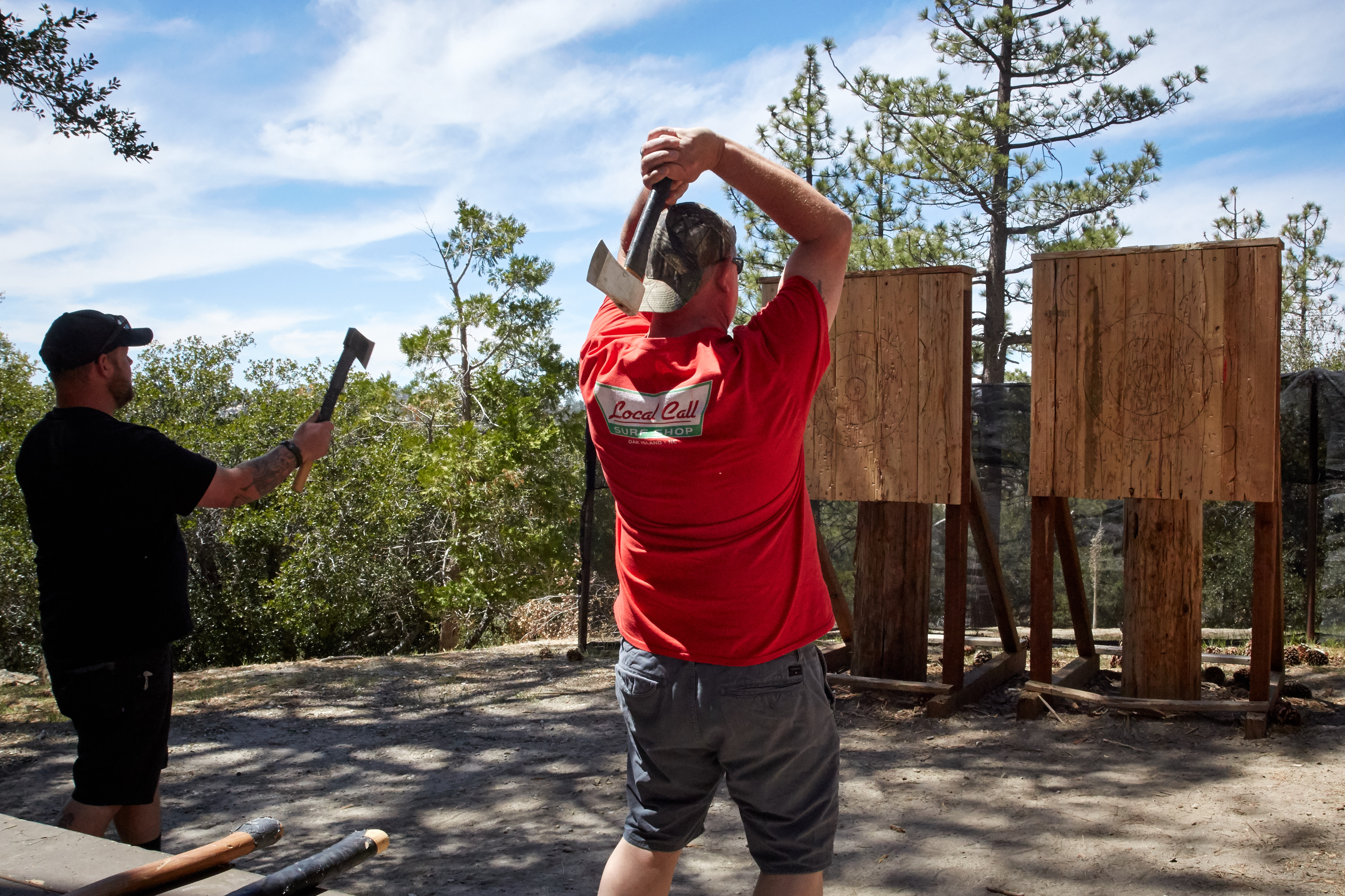 hatchet throwing man camp angeles crest