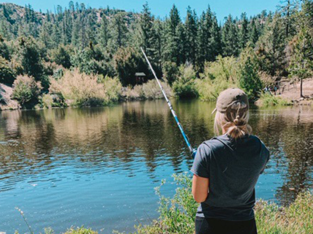Fishing at the lake at Angeles Crest Family Campground